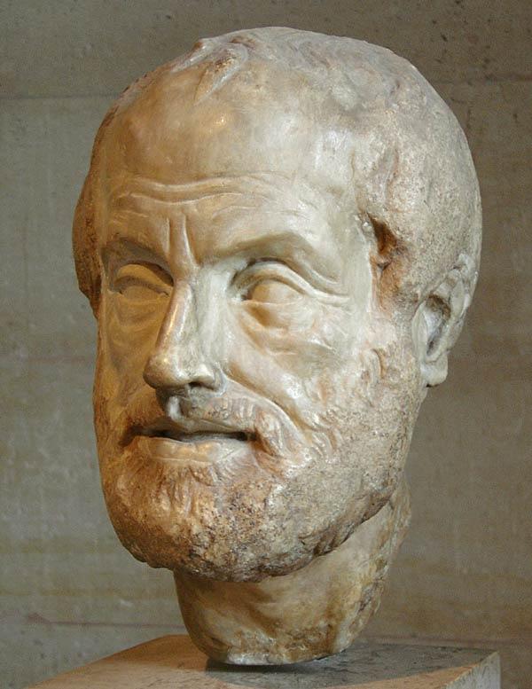 Aristóteles (busto copia de una escultura de Lisipo)