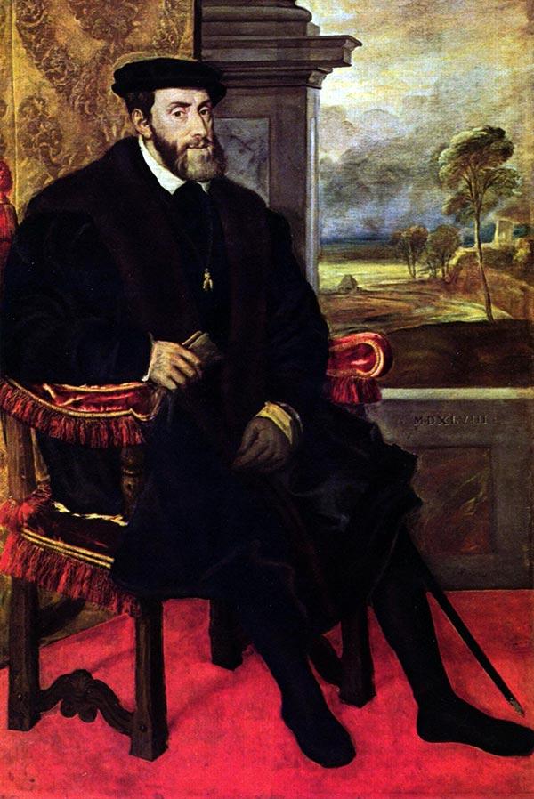Carlos I sentado (Tiziano, 1548)