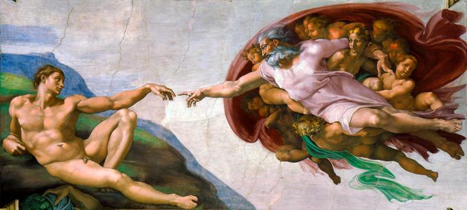 Miguel Ángel: la creación de Adán (1511)