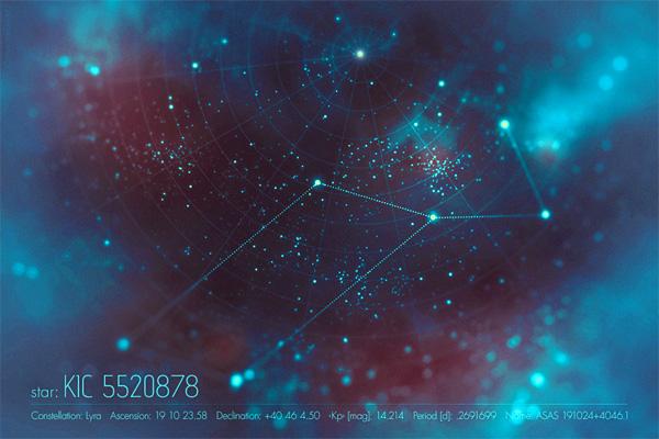 La estrella KIC 5520878 (costelación de Lyra)