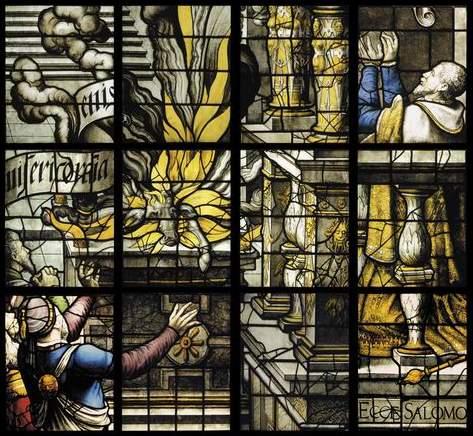 Vidriera del Rey: Consagración del Templo de Salomón
