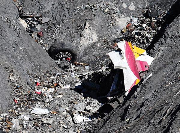 El vuelo 9525 de Germanwings: restos del avión