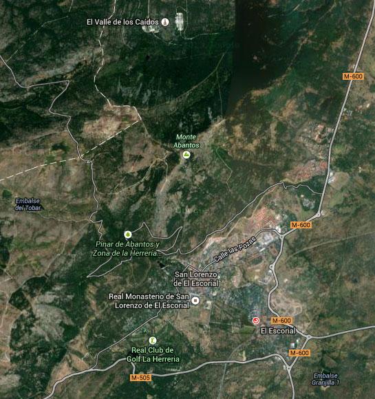 Plano de situación del monte Abantos y el bosque de la Herrería