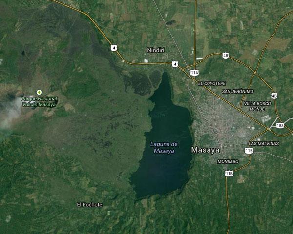 El Volcán Masaya: mapa por satélite