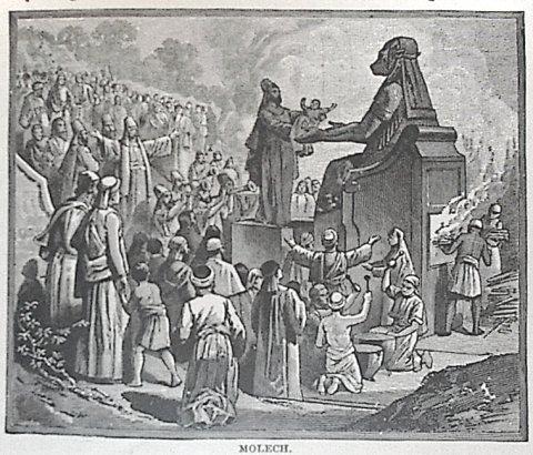 Moloch: sacrificio de un niño al interior en llamas de la estatua