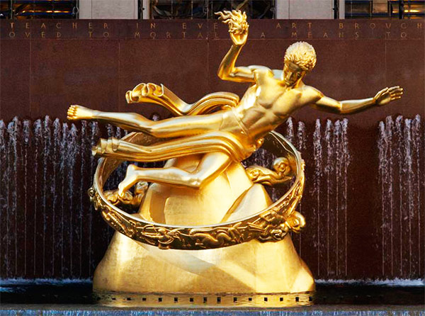 Estatua de Prometeo, Rockefeller Center (frontal)