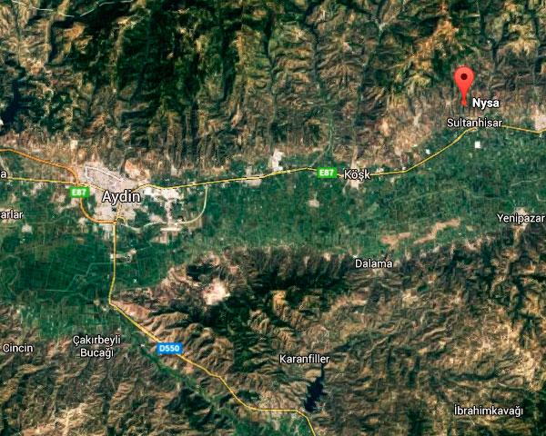 Mapa: territorio entre Aydin y Nysa (Turquía)
